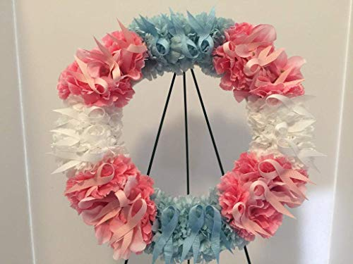 TRANSGENDER PRIDE - LGBTQ - COLLEGE PRIDE - SPIRIT - STUDENT ORGANIZATIONS - UNIVERSITY DIVERSITY GROUPS - DORM - COLLECTOR WREATH - BABY BLUE, BABY PINK & WHITE CARNATIONS & RIBBON -BE PROUD