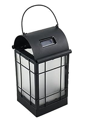 Moonrays 91165 Solar Powered Lantern, Amber LED Light, White Washed Metal