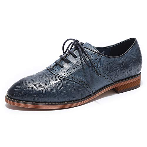 MIKCON Women's Leather Perforated Lace-up Oxfords Shoes Women Wingtip Multicolor Brougue Shoes