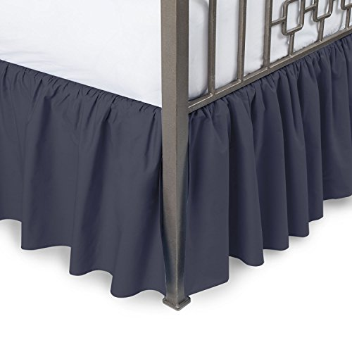 Harmony Lane Ruffled Bed Skirt with Split Corners - Full, Navy, 14 Inch Drop Bedskirt (Available in and 16 Colors)