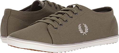 Fred Perry Mens Kingston Twill Fashion Sneaker Burnt Olive / 1964 Argento