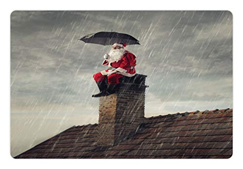 Ambesonne Christmas Pet Mat for Food and Water, Photo of Santa Sits on a Chimney with Umbrella in Heavy Rain, Rectangle Non-Slip Rubber Mat for Dogs and Cats, Vermilion Dark Taupe and Dusk]()