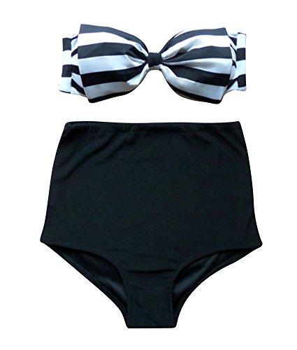 Mujeres Elegante Bowknot Cintura Alta Talla Grande Bikini Multicolored Trajes De Baño Ropa De Playa 8