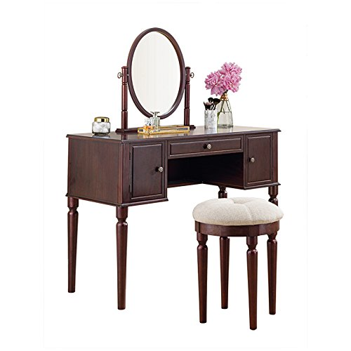 SEESUU Vanity Table Set with Mirror 3 Drawers Makeup Dressing Table with Cushioned Stool Cherry (Sale For Makeup Vanities)