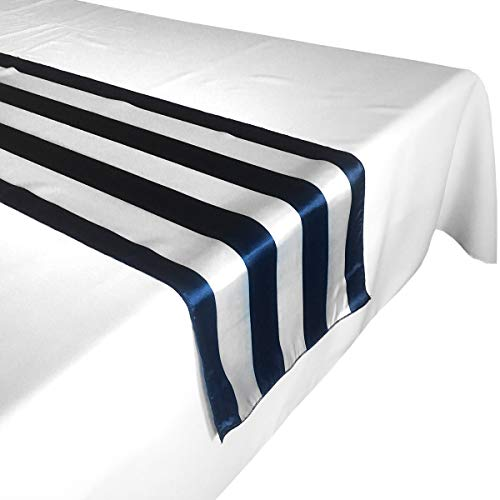 - lovemyfabric Pack of 10 Satin 2 Inch Striped Table Runners For Wedding/Bridal Shower Birthdays/Baby Shower and Special Events (Navy and White, 12