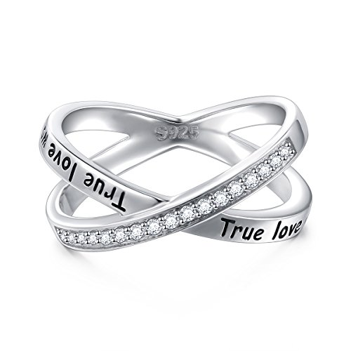 S925 Sterling Silver True Love Waits Infinity Criss Cross Rings for Women Lady, Size 7 by Silver Light Jewelry (Image #1)'