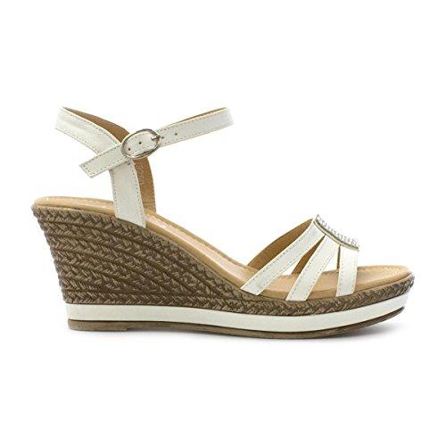 Lilley Damen Weiß Sandale mit Keilabsatz und Strass Weiß