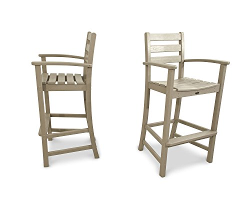 Trex Outdoor Furniture TXS120-1-SC Monterey Bay 2-Piece Bar Chair Set, Sand Castle