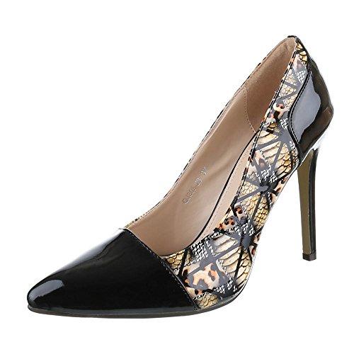 Ital-Design - Zapatos de Tacón Mujer Negro - Schwarz Braun