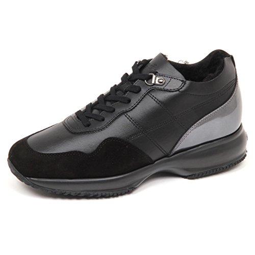 Hogan E4818 Sneaker Donna Nero Interactive Scarpe Interno ecopelo Shoe Woman nero/piombo
