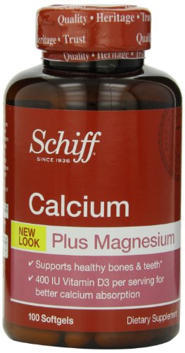 Schiff Bone Minerals - Schiff Calcium Carbonate Plus Magnesium with Vitamin D3 400 IU, Calcium Supplement, 100 Count (Pack of 3)