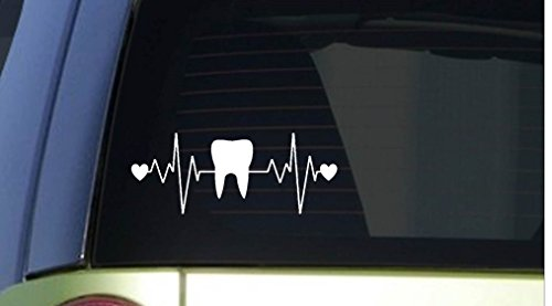 Tooth heartbeat lifeline *I257* 8″ wide Sticker decal dentist hygienist