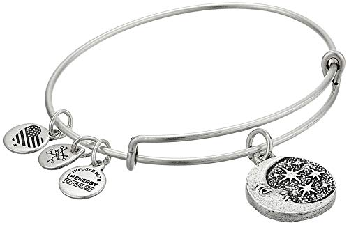 Alex and Ani Women's Moon Tarot Charm Bangle Bracelet, Rafaelian Silver (Moon And Star Charm Bracelet)