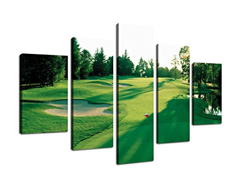 Wall Pictures for Living Room Home Decor Canvas Prints Green Grass Golf Course Field Artwork Painting for Bedroom Dinner Room Modern Landscape 5 Panel Posters and Prints Framed (60''Wx40''H) ()