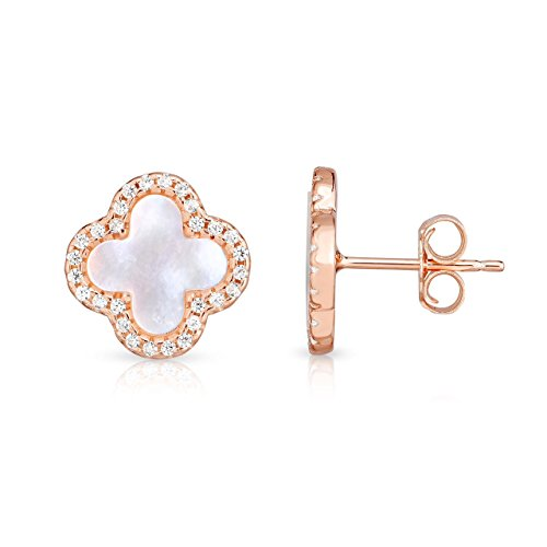 Sterling Silver Mother Of Pearl And Cubic Zirconia Four Leaf Clover Post Earrings. (14K Rose Gold Plated)