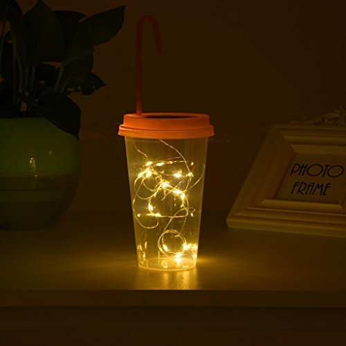 Coohole Solar Powered 15 LED String Light Fairy Lid Bottle Cap Lamps Decor for Party or Holiday Decoration (Pink)