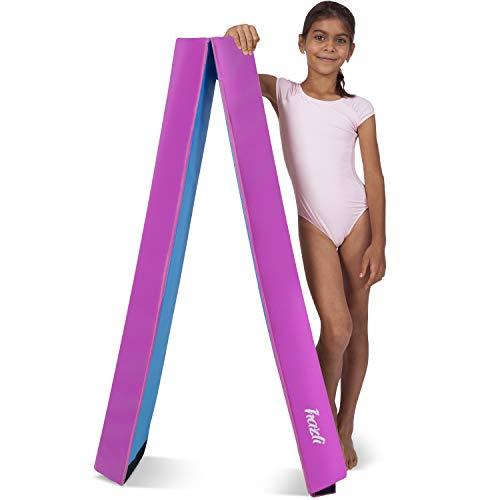 Hazli Folding Gymnastics Balance Beam for Home Practice - 8FT Balance Beams for Gymnastic - Great Balance Beam for Kids - Soft Yet Sturdy Gym Equipment for Children (Pink)