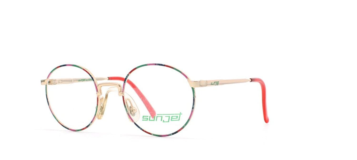 Sunjet 5222 43 Gold and Pink and Red and Blue Authentic Men - Women Vintage Eyeglasses Frame