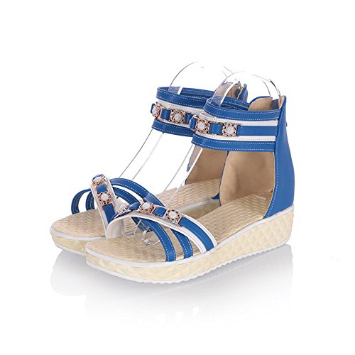 Allhqfashion Mujeres Low Heels Assorted Color Cremallera Open Toe Plataformas Y Cuñas Azul