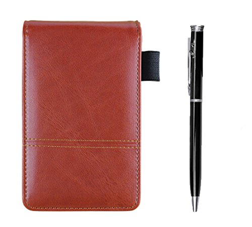 - PU Leather A7 Business Notepads with Calculator, Small Pocket Jotter Memo Steno Notebook,Wide Lined 30 Pages Notes and Lists,Travel Notepads with Retractable Rollerball Point Pen,Black Ink