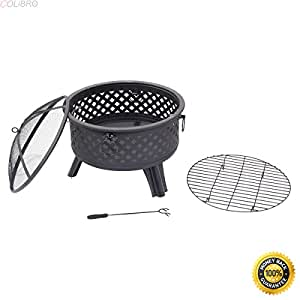 "COLIBROX--26"" Metal Round Firepit Patio Garden Stove Fire Pit Outdoor Brazier With Poker,metal art fire pits,steel fire pits outdoor,fire pit ring,New Wonderful Metal Fire Pit,fire pit sale"
