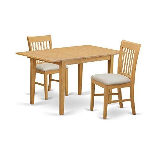 East West Furniture NOFK3-OAK-C 3-Piece Kitchen Nook Dining Table Set