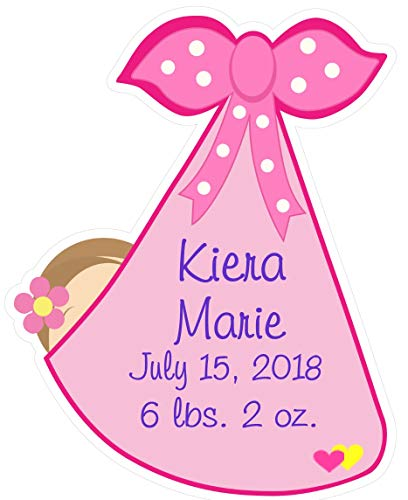 Birth Stats Sign - Custom New Baby Girl Stork Door Hanger - Welcome Newborn Decoration Keepsake Gift