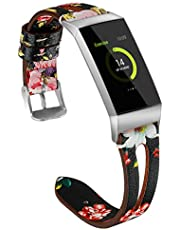 KOMI Watch Bands Compatible with Fitbit Charge 4 / Charge 3 / Charge 3 SE, Slim Genuine Leather Band Replacement Accessories Strap Women Man(L,Muticolor#2)