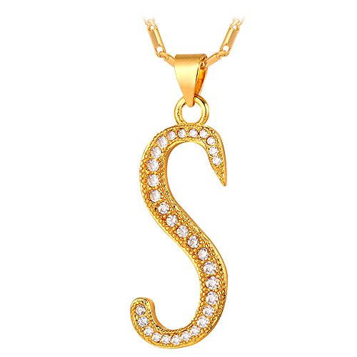 U7 Letter Necklace 18K Gold Plated Cubic Zirconia Iced Out Pendant Monogram Style Initial Necklace, Alphabet S -