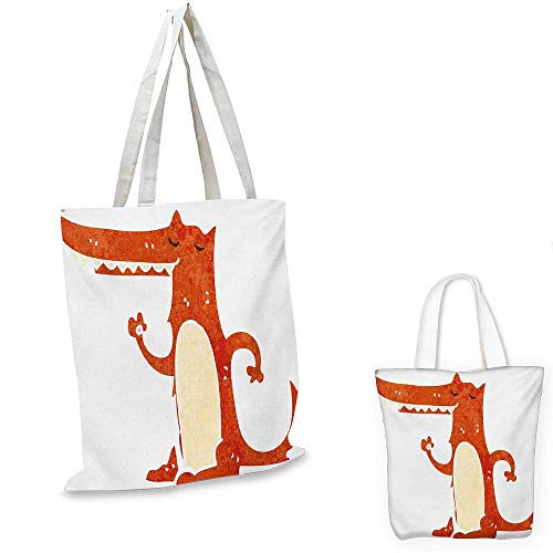 Fox royal shopping bag Retro Style Cartoon Hand Drawn Funny Mascot Watercolor Grunge Artwork funny reusable shopping bag Burnt Sienna White Cream. 16