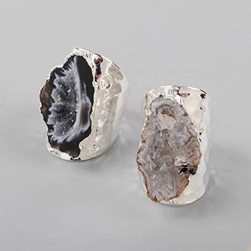 Freeform Cuff - FidgetKute Silver Plated Raw Freeform Natural Agate Druzy Geode Cuff Open Band Ring AS1388 Similar 1 Piece