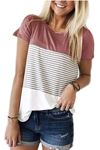 - ALIBIZIA Women's Summer Crew Neck Triple Color Block Stripe T-Shirt Blouse 2XL Red