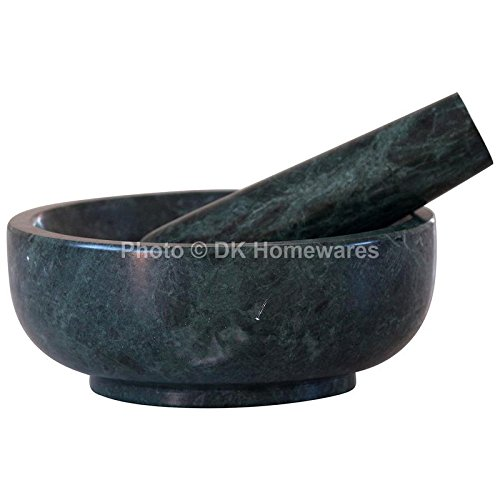Indian Mortar And Pestle Set Fine Polished Green Jointless Marble Stone Kitchenware Kitchen Grinding Tool By DK ()