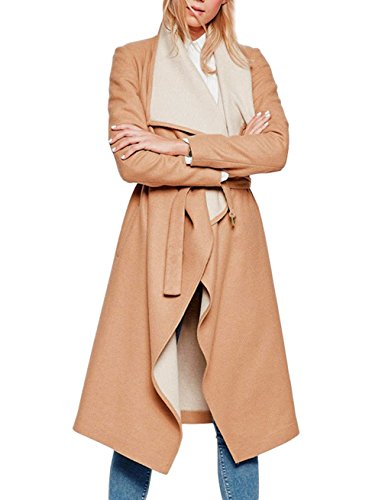 Gameyly Women's Warm Fully Lined Fitted Wool Long Tweed Coat M Tan - Tan Wool Tweed