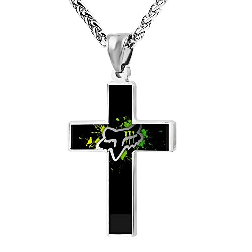 HJFamsso Unique Fox Monster Racing Energy Cross Necklace Pendant Religious Jewelry