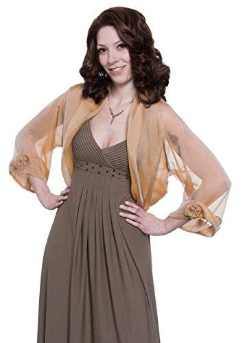 Caramel-Cream Silk Chiffon Bolero Jacket for Evening Dress (M-L)