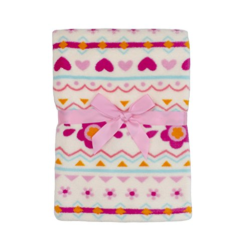 Baby Gear Plush Boa Ultra Soft Baby Girls Blanket 30 x 40 Tribal Pink Patterns