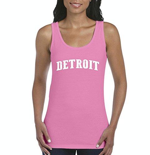 Mom`s Favorite City of Detroit Michigan State Flag Traveler`s Gift Women's Tank Top (2XLAP) Azalea Pink
