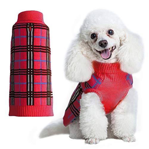 Red Argyle Dog Sweater - KOOLTAIL Holiday Dog Sweater Plaid Doggie Clothes for Girls Boys Red Small