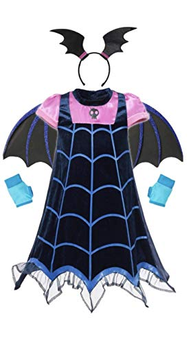 FashionModa4U Vampirina Girls Costume Dress, Headband, Wings and Gloves, 5.