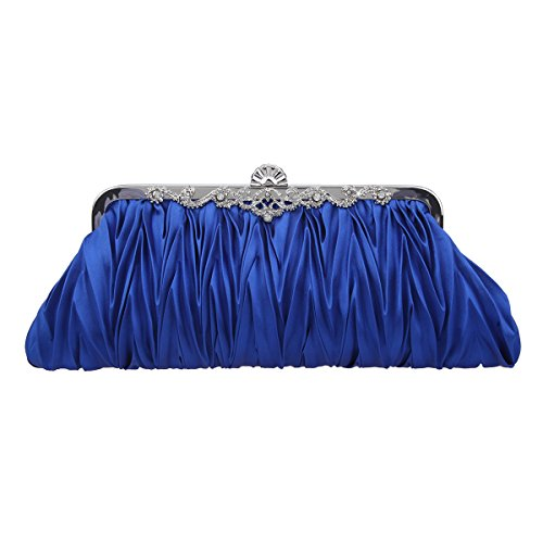 Fawziya Satin Pleated Clutch Purses For Women Evening Clutches For Wedding And Party-Blue