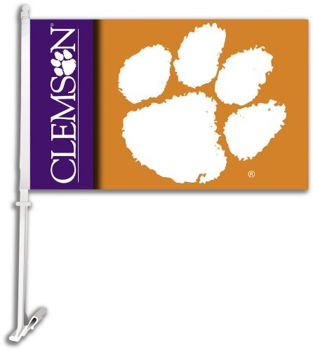 NCAA Clemson Tigers Car Flag with Free Wall Bracket
