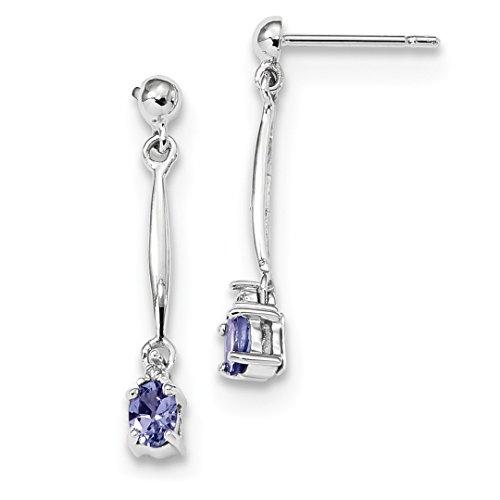 ICE CARATS 14k White Gold Diamond Blue Tanzanite Post Stud Drop Dangle Chandelier Earrings Fine Jewelry Gift Set For Women Heart - White Gold Diamond Tanzanite Earrings