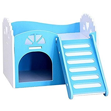 TOOGOO(R) Small Animal Pet Hamster Rat Hedgehog Squirrel Ladder House Bed Nest Cage Wood blue Review