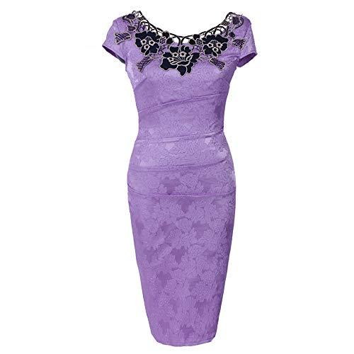 Londony Vintage Casual Vestidos Dresses, Womens Retro Floral Lace Slim Evening Party Pencil Dress Purple