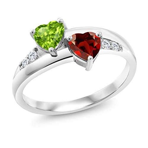 Gem Stone King 1.13 Ct Heart Shape Green Peridot Red Garnet 925 Sterling Silver Lab Grown Diamond Ring (Size 5)