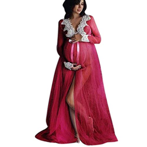 Maternity Dress for Photography Deep V Neck Chiffon Gown Split Front Lace Long Maxi Dresses (M, Red)