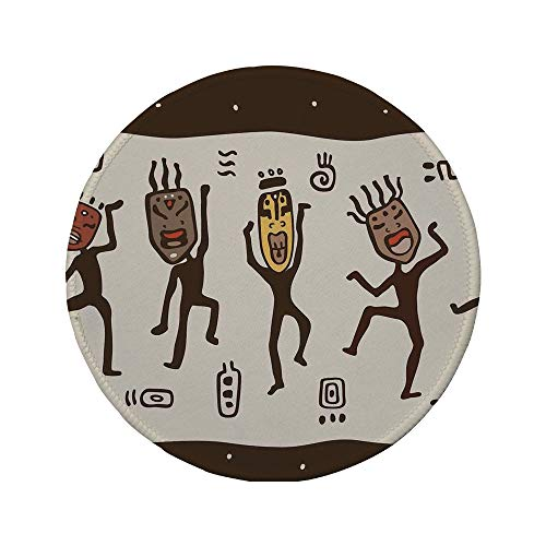 Non-Slip Rubber Round Mouse Pad,Primitive,Cartoon Dancing Natives Wearing African Masks Prehistoric Rituals Decorative,Army Green Beige Yellow,11.8