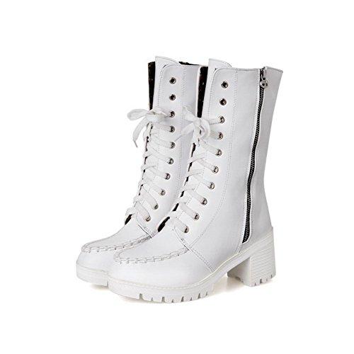 AllhqFashion Womens Low top Solid Zipper Round Closed Toe Kitten-Heels Boots White hruJuwz