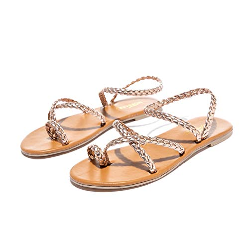 Women Sandals, FAPIZI Ladies Cross Boho Sandals Flat Thong Casual Summer Beach Sandals Roman Flip Flops Shoes Rose Gold
